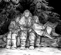 Thorin and his sister-sons, Kili and Fili