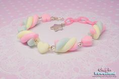 ☆ Pastel rainbow marshmallow bracelet ☆ sold by Ciali in Kawaiiland. Shop more products from Ciali in Kawaiiland on Storenvy, the home of independent small businesses all over the world. Candy Bracelet, Candy Jewelry, Goth Jewelry, Beaded Bracelets, Jewlery, Embroidery Bracelets, Kawaii Jewelry, Kawaii Accessories, Girls Accessories