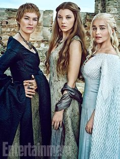 Game of Thrones characters! -- Cercei Lannister played by Lena Headey, Margaery Tyrell played by Natalie Dormer, and Daenerys Targaryen played by Emilia Clarke