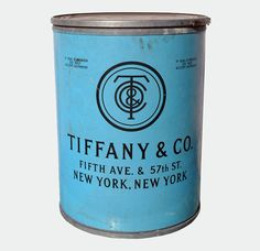 Tiffany & Company shipping barrel. Used to ship silver and china, the barrel is handsomely weathered but has retained the instantly recognizable and gorgeous Tiffany blue. The New York address, 1920′s typography and one-of-a-kind details.