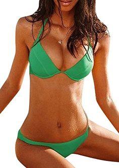 Topshow Women's Sexy Triangle Halter Solid bra 2 Equipment Bikini Set $27.87(On sale from $33.10)