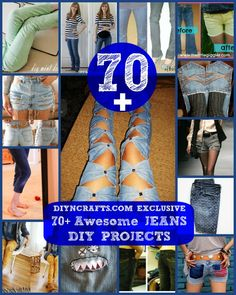70+ Awesome Jeans DIY Projects {Refashioning, Slimming, Transforming} -- MAYBE DOWN-cycled ;-) KIDS WOULD LOVE THEM...