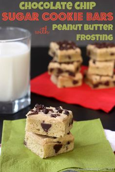 Chocolate Chip Sugar Cookie Bars with Peanut Butter Frosting Recipe