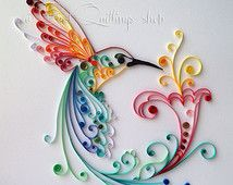 """Quilling Art: """"Bird of Happiness"""" Colourful Paper Art, Wall Art and Deco"""