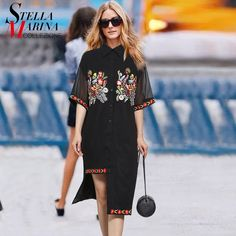 >> Click to Buy << 2017 European Fashion Summer Women Black Chiffon Shirt Dress Short Sleeve Flower Appliques Casual Straight Dress Robe Femme 2333 #Affiliate