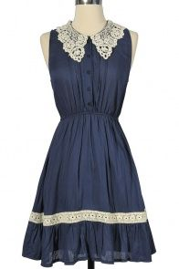 vintage wedding bridesmaid??    Mary Crochet Collar Dress in Blue or Beige