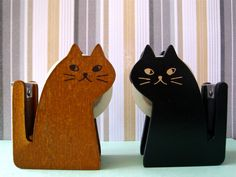 Kitty cat wooden tape dispenser by Decole Japan. In Natural