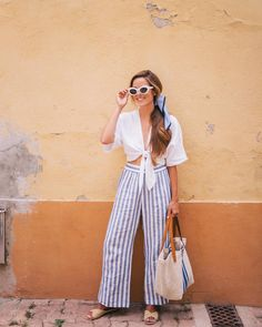 """22.8k Likes, 255 Comments - Julia Engel (Gal Meets Glam) (@juliahengel) on Instagram: """"Summer wardrobe includes lot of blues, whites and linen (and I've linked this daily look in my…"""""""