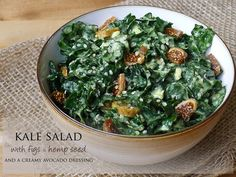 Kale Salad with Figs and Hemp Seed