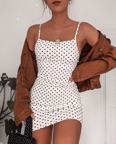 poka dot dress spring fashion trendy fashion fashion inspo brown jacket mini skirt white mini skirt trendy outfit - Mini Skirts - Ideas of Mini Skirts Look Fashion, Trendy Fashion, Spring Fashion, Trendy Clothing, Womens Fashion, Stylish Clothes, Brown Fashion, Casual Clothes, Holiday Fashion