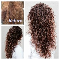 Before and after, Thick Curly Hair. To achieve this result gel should be applied section by section and gently defuse. Ombre Curly Hair, Curly Hair Cuts, Curly Hair Styles, Natural Hair Styles, Curly Perm, Long Natural Curls, Wig Hairstyles, Medium Permed Hairstyles, Long Curly Haircuts