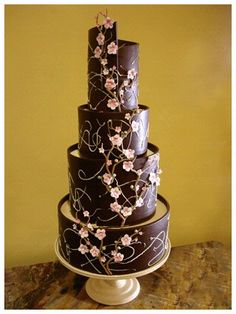 Chocolate wedding cake- I just don't want it to be too frilly