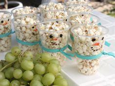 DIY Snowman Popcorn cups - A Winter One-derland | Baby Bean Design