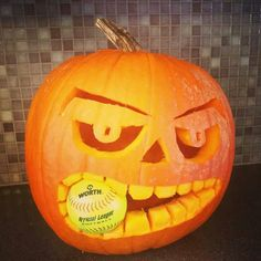 Baseball and Halloween go together, right? I mean baseball worms it way into every other part of our lives, so why not Halloween too? Halloween Pumpkins, Fall Halloween, Halloween Crafts, Holiday Crafts, Holiday Fun, Favorite Holiday, Halloween Decorations, Softball Decorations, Halloween Tricks