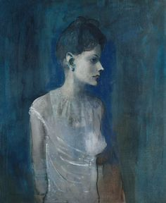 Pablo Picasso (1881‑1973) Jeune femme en chemise 1905 Oil on canvas 72,7 x 60 cm ___ This waif-like girl is among Picasso's cast of people from the margins of society. A melancholic mood is conveyed with veils of paint. The chemise accentuates, rather than disguises, the slenderness of the girl's body that the painter shows as sexually desirable. She is fragile, perhaps sickly. Her delicate pink flesh evokes the skin-colour that Picasso's friend Guillaume Apollinaire identified