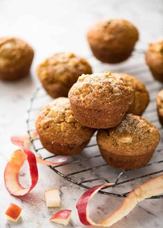 These Brown Sugar Apple Muffins are a miracle - made with pantry staples, 5 minute batter and they stay moist for up to 5 days! Magic Muffins Recipe, Snack Recipes, Dessert Recipes, Snacks, Apple Recipes, Yummy Treats, Delicious Desserts, Sweet Treats, Recipetin Eats