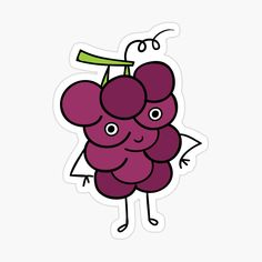 'Cute Grape Character Sticker' Sticker by CarmelaGiordano Transparent Stickers, Glossier Stickers, Sell Your Art, Sticker Design, Cotton Tote Bags, Disney Characters, Fictional Characters, My Arts, It Is Finished