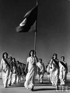 Pakistani members of the Muslim Women's National Guard during marching practice 1947