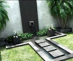 Nature Whispering of Outdoor Garden Water Fountains : Home Interior Design Purchasing Garden Water Fountains Waterfall House Courtyard Landscaping, Courtyard Design, Modern Landscaping, Garden Design, Landscaping Ideas, Courtyard Ideas, Backyard Ideas, Modern Courtyard, Stone Landscaping