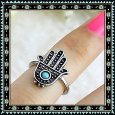 Beautiful turquoise statement ring. Hamsa delicately made turquoise and silver ring.     00013 Jewelry Rings