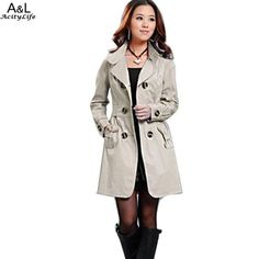 64229daab6d Casual Contempo · New Fall Fashion-Outerwear · FANALA Double Breasted  Trench Long Sleeve Turn Down Collar Coat Women 2017 Fashion Belt Cloak  Polerones