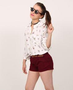 Gafas dobles de sol Chocker Blusa formal con estampado de búhos Shorts básico vino tinto de drill Correa café