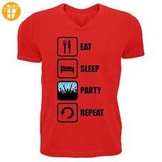 Eat Sleep Party Repeat Graphic Design Men's V-Neck T-shirt XX-Large (*Partner-Link)