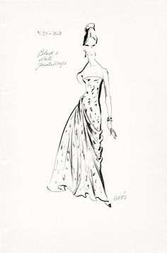 Original Haute Couture Vintage Fashion Sketch Stat Sheet by the house of Madame Grès 303