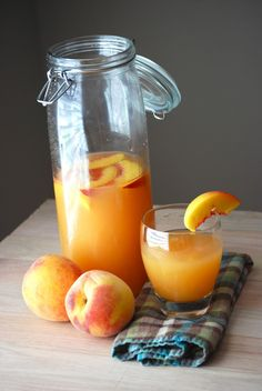 3 to 4 peaches) cup sugar 1 cup fresh lemon juice (juice of approx. 6 to 8 lemons) to cup additional water 4 cups ice 1 peach cut into 8 wedges, for garnish Refreshing Drinks, Summer Drinks, Fun Drinks, Healthy Drinks, Beverages, Healthy Water, Cold Drinks, Dessert Healthy, Drink Recipes