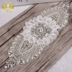 Beaded applique with flower for bridal sash. 5pieces linkhttp://bit.ly/2aec51z