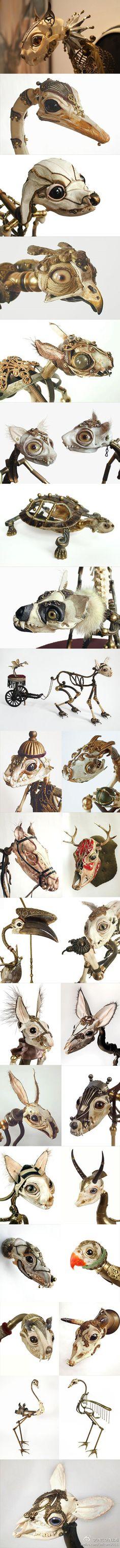 芝加哥艺术家 Jesscia Joslin 从小喜欢收集自然界的小鸟残骸,92年开始从事创作,她将各种骨骼、金属、布料及小木片等组合成自己心中的动物精灵形象,赋予了它们第二次生命,尤其是那空灵深邃的大眼睛瞳孔令人印象深刻,作品尺寸大致从10cm到60cm不等..