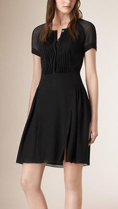 Black Pleat Detail Silk Dress - Image 1