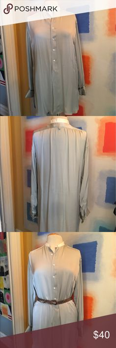 Ralph Lauren Silk Tunic Elegant silk long shirt with cuff and Pleated shoulder details. Understated Chinese collar. This shirt falls so beautifully on the body and so very rich looking. Color is light gray with the slightest hint of blue. Very minor slight flaw as shown on last photo. Looks like small drips but can easily come off in cleaning. 100% silk. Will fit a size 4-6 if you like an oversized look, otherwise it is an 8. Ralph Lauren Tops Tunics