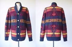 70s 80s Navajo Ikat Print Sweater __ Grandpa Sweater __ Vintage Autumnal Maroon Blue Beige Ochre Brown Geometric Pattern Knit Jacket Cardigan w/ Wooden Button > Women's Medium M Men's Small S