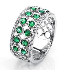 EMERALD ROWS Diamond Ring with Emeralds | Carlos Udozzo Co.