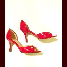 """Alexandra Neel Red Patent Heels, Never Worn! Amazing designer shoes!  Red patent leather.  Purchased at Nordstrom several years ago but in wrong size and forgot to return.  Never worn.  Removed sale sticker from bottom of shoe which is what you see in picture.  Comes with shoe bag and original box. Heel height approx 3.25"""".    #madeinitaly #newshoes #size5 #neverworn #stilettos #designershoes   Willing to consider reasonable offers.  No swaps Alexandra Neel Shoes Heels"""