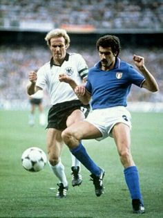Italy 3 West Germany 1 in 1982 in Madrid. Claudio Gentile clears from Karl Heinz Rummenigge in the World Cup Final.