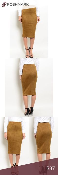 "ELLA LIGHT BROWN SUEDE SKIRT Sassy suede pencil skirt features a bodycon fit, mid length hem and high waisted design.  Fabric Content: 90% POLYESTER 10% SPANDEX  Description: L: 28"" B: 13"" W: 12"" Skirts Midi"