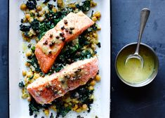 Slow-Cooked Salmon, Chickpeas, and Greens - Bon Appétit