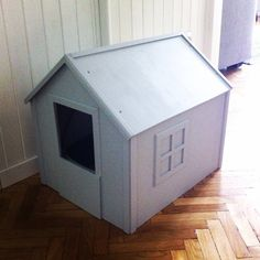 Cat litter box  Drawn by me; built by dad; painted by me ;)