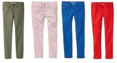 Tiny colored jeans for little girls. My granddaughters would like these.