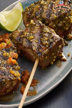 Bring rich Brazilian flavors to the grill with our Brazilian marinade. Marinate pork and steak in this zesty, garlic-cilantro mixture then serve with a side of Red Chimichurri Sauce. These pork and steak skewers make the perfect main dish for your next summer cookout.