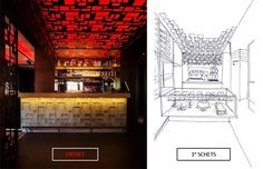 #Cortensteel Ceiling Cortenstaal Plafond LED Verlichting Laser Cut Bar Backbar Sketch Square - Design Beers Brickworks
