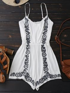 SHARE & Get it FREE | Cami Floral Embroidered Romper - WhiteFor Fashion Lovers only:80,000+ Items • New Arrivals Daily Join Zaful: Get YOUR $50 NOW!