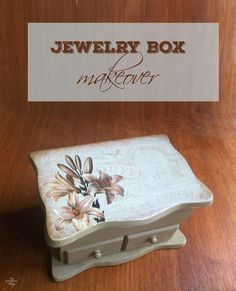 Vintage jewelry box makeover with some DIY chalk paint and a pretty print