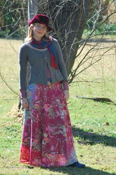 vintage velvet hat & long silky skirt Cute Fall look
