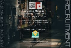 Seeking ASSISTANT MANAGER - QUALITY CONTROL / PRODUCTION CONTROL to work in Bangkok, Thailand –> Apply Now !!!  recruit9@fischerandpartners.com  https://recruit.zoho.com/recruit/ViewJob.na?digest=duBuh5Cl.xppfB786q9KjM117FzRKobiFy4g4@oCfRM-&embedsource=Embed  http://www.fischerandpartners.com/recruitment-services/