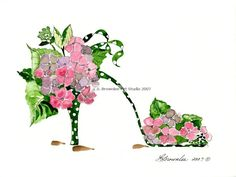 Polka dancing Hydrangea Shoe - All prints enhanced with watercolor paint and signed and named on back.