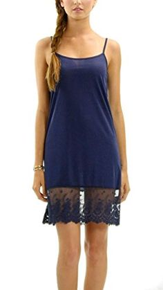 19204ac50d27 Melody Women's Solid Knit Lace Full Slip Dress - Skirt Extender (Small,  Navy) * Check this useful article by going to the link at the image.