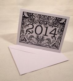 Happy New Year 2014 Doodle Card by DoodleButton on Etsy, $3.00